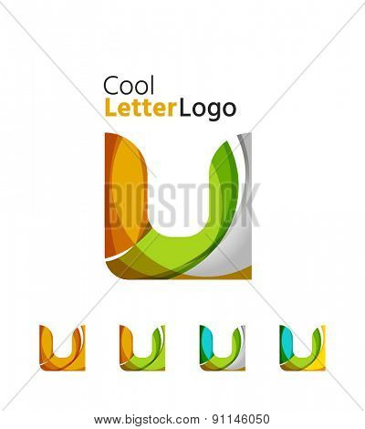 Set of abstract U letter company logos. Business icons made of overlapping flowing waves. Light color modern minimal design