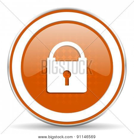 padlock orange icon secure sign