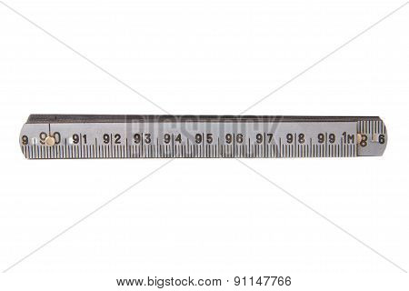 Isolated Old Metal Ruler