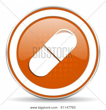 drugs orange icon medical sign