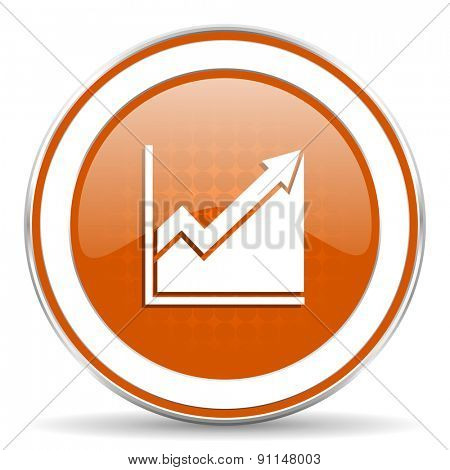 histogram orange icon stock sign