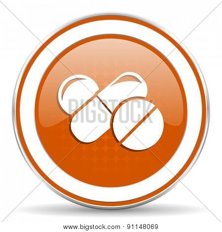 medicine orange icon drugs symbol pills sign