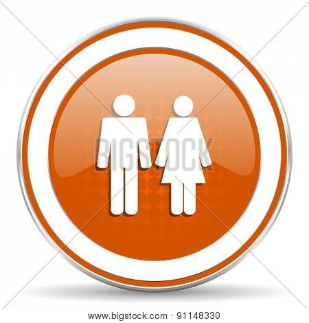 couple orange icon people sign team symbol