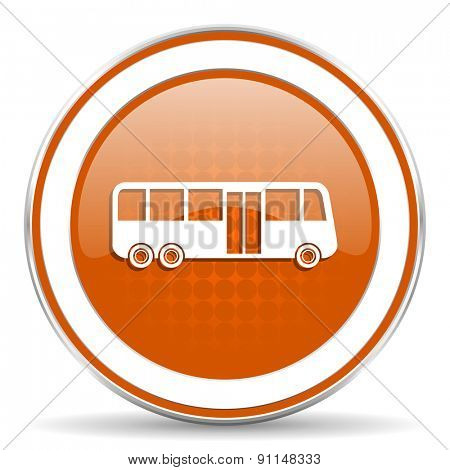 bus orange icon public transport sign