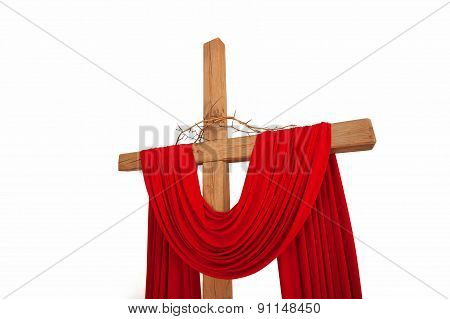 A Wooden Christian Cross With A Crown Of Thorns Isolated On White Background