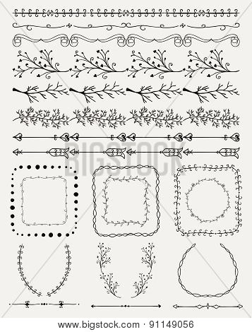 Hand Sketched Seamless Borders, Frames, Dividers, Branches
