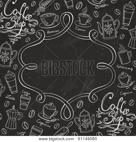 Coffee shop design frame. Stylized chalkboard coffee background. Vector illustration.