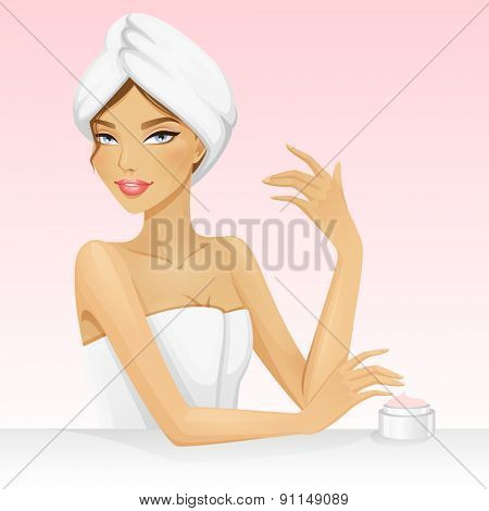 Woman with a towel on the head after shower or bath. Beautiful vector illustration for spa or beauty.