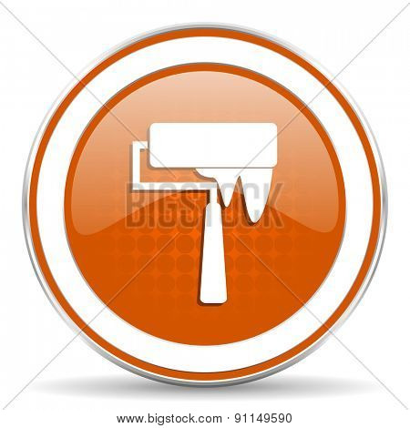 brush orange icon paint sign