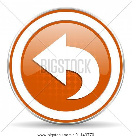 back orange icon arrow sign