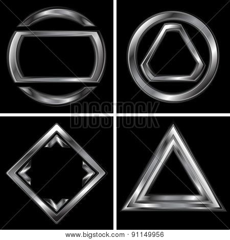 Set of metallic tech logo backgrounds. Raster art design