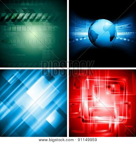 Abstract bright corporate tech backgrounds. Raster art set design