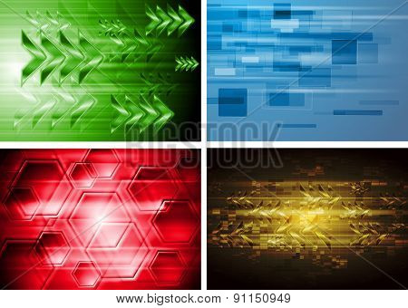 Set of bright modern hi-tech backgrounds. Raster art design