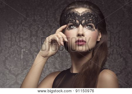 Beautiful Brunette With Mask