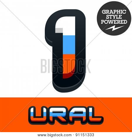 Vector set of Russian flag alphabet. File contains graphic styles available in Illustrator. Number 1