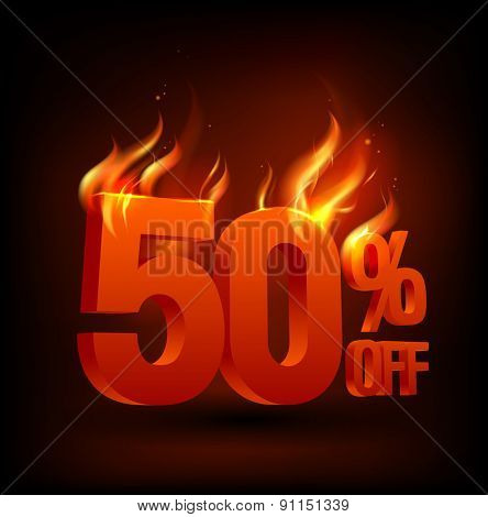 Fiery 50 percent off, sale background, rasterized version.