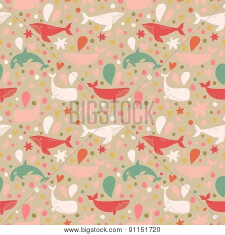 Lovely seamless pattern with cute whales in vintage colors. Sweet underwater concept background in vector