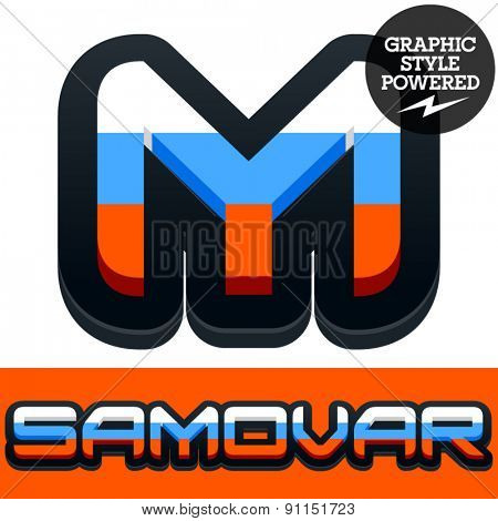 Vector set of Russian flag alphabet. File contains graphic styles available in Illustrator. Letter M