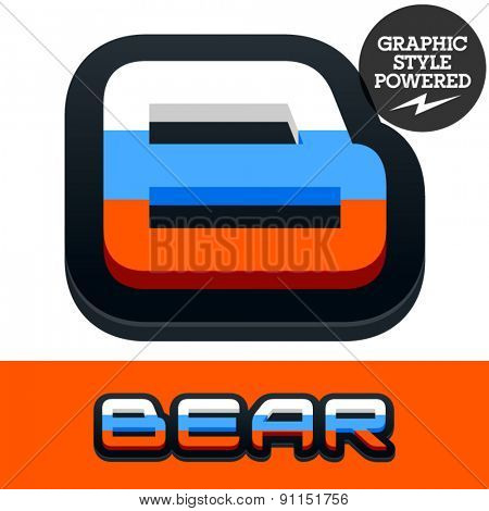 Vector set of Russian flag alphabet. File contains graphic styles available in Illustrator. Letter B