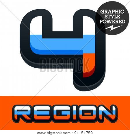 Vector set of Russian flag alphabet. File contains graphic styles available in Illustrator. Number 4