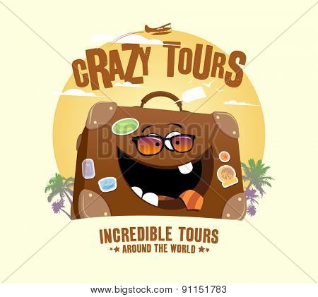 Crazy tours design with funny suitcase, rasterized version.