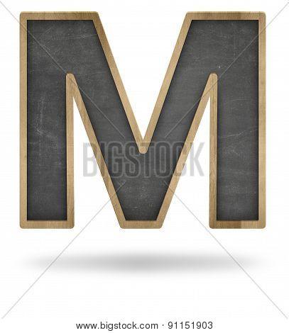 Black blank letter M shape blackboard