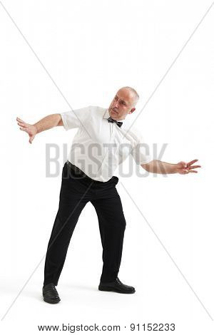 referee counting down and turning back. isolated on white background
