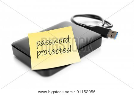 An image of an external hard drive with the text password protected