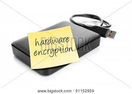 An image of an external hard drive with the text hardware encryption