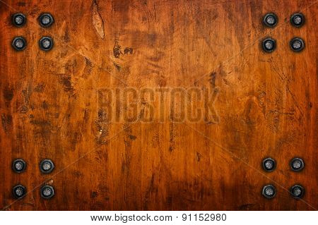 tack on wood board background