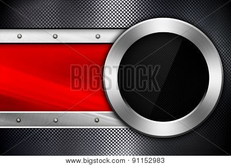 metal template with glass porthole