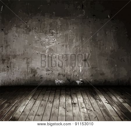 old grunge interior, vector