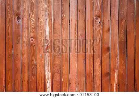 painted old wooden wall. red background, vector