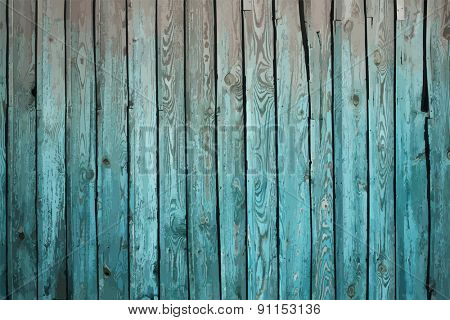 painted old wooden wall. cyan background, vector