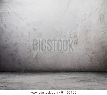 old grunge room, dirty wall, vector