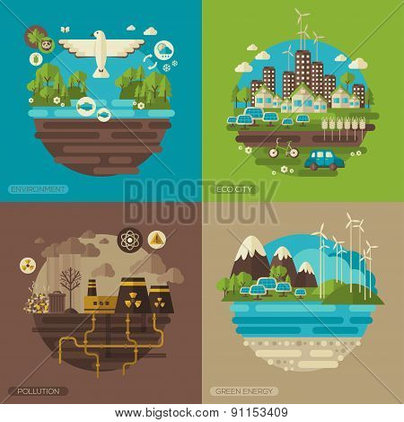 Vector flat design concepts with ecology icons
