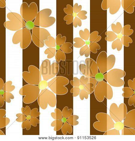 Seamless Orange Floral Pattern Background