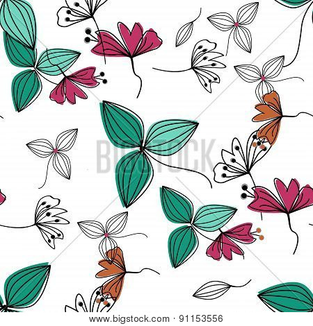Flowers Over White Nature Seamless Pattern Background