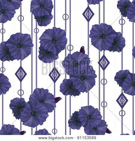 Seamless Navy Poppy Flowers Pattern Background