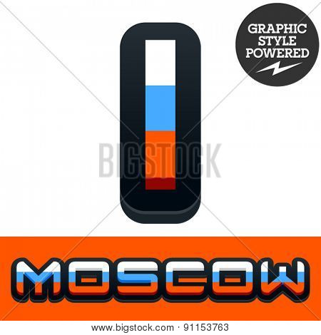 Vector set of Russian flag alphabet. File contains graphic styles available in Illustrator. Letter I