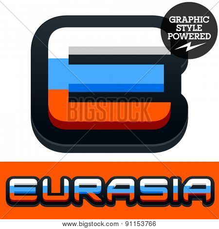 Vector set of Russian flag alphabet. File contains graphic styles available in Illustrator. Letter E