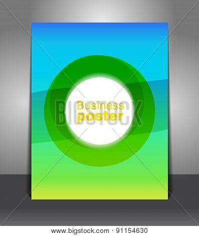 Abstract green blue poster template background