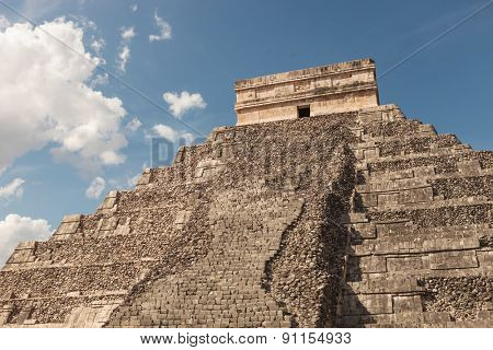 Down view of a pyramid in Chichen Itza, Mexico.