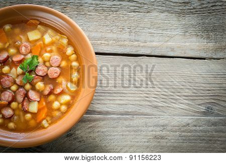 Soup With Chickpeas And Smoked Sausage