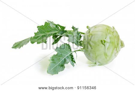 Fresh raw kohlrabi on a white background