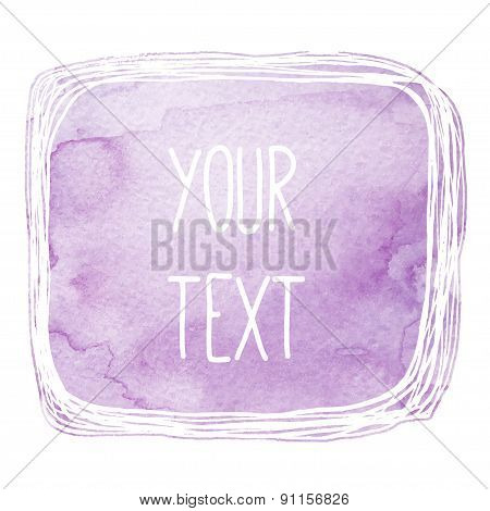 text frame with violet watercolor background