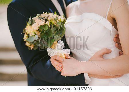 Wedding Couple Hugs