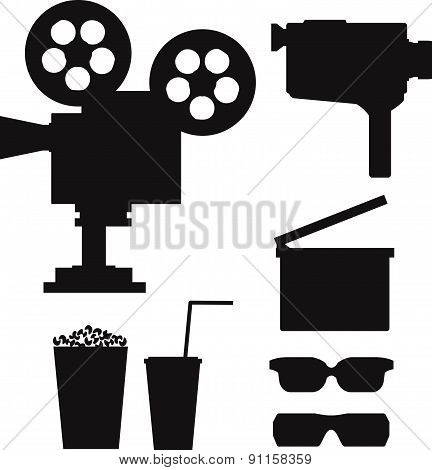 Set of  movie silhouettes