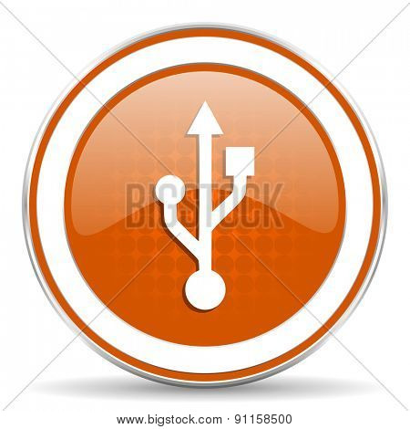usb orange icon flash memory sign