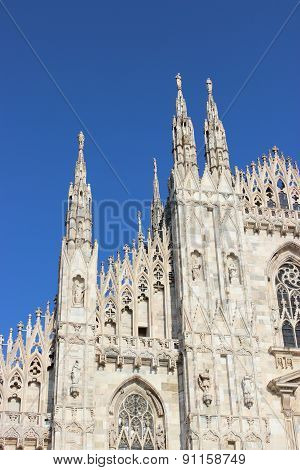 Milan Cathedral With A Beautiful Blue Sky